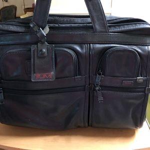 Tumi Black Napa Leather 9624D3 Briefcase